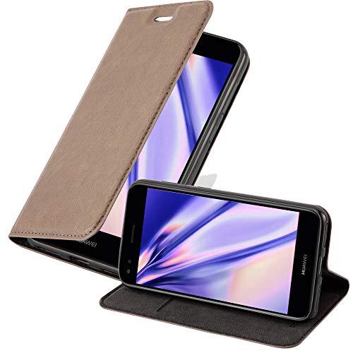 Cadorabo Hülle für Huawei Y6 PRO 2017 in Kaffee BRAUN - Handyhülle mit Magnetverschluss, Standfunktion & Kartenfach - Hülle Cover Schutzhülle Etui Tasche Book Klapp Style