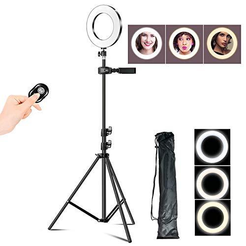 16cm selfie Ring Light, LED-Fill Light met beugel en Bluetooth Remote Control, 3 Lighting Modes en 10 aanpassen van de helderheid, A, 1.6m LMMS
