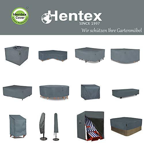 HENTEX Schutzhülle Cover Eckbank für Gartenmöbel Abdeckung L-Form, Grau, 255x255x100x70H cm - 5