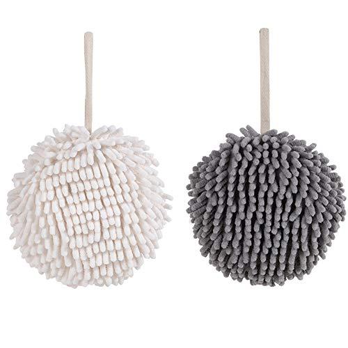 Hängende Handtücher aus Mikrofaser-Chenille, weiches Handtuch aus Chenille-Korallensamt, schnell trocknendes, saugfähiges Handball-Handtuch für das Badezimmer in der Küche (weiß & grau)