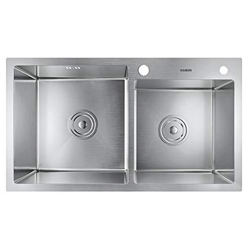 KAIBOR fregadero cocina dos senos con escurridor y sifón rebosadero 78x43x20cm fregaderos de cocina acero inoxidable 304, sobre encimera o enrasado