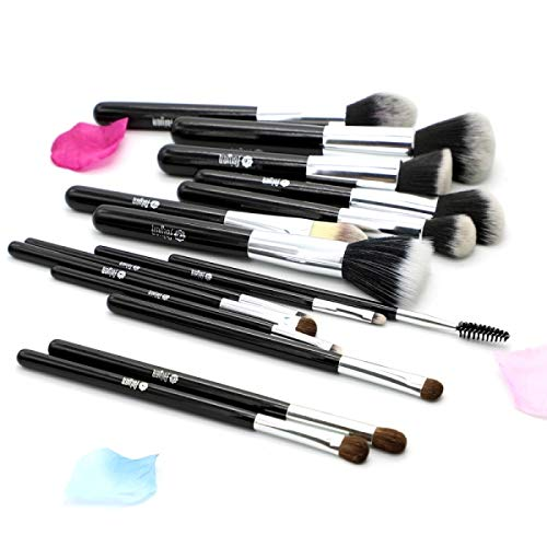 Best Quality - Makeup Brushes - Makeup Brushes Professional Synthetic Hair Eyeshadow Powder Blush Foundation Set 15pcs Cosmetic Brush Kit with Bag Gift - by Olwen Shop