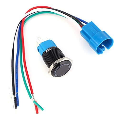 2 juegos de botón de metal con interruptor de acero inoxidable resistente al agua con reinicio automático IP65 para modificación de automóviles(white)