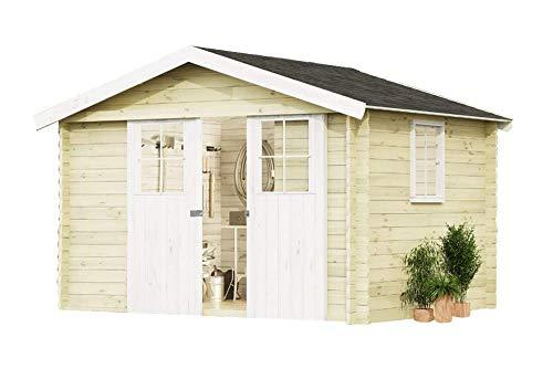*Alpholz Gartenhaus EVERE aus Fichten-Holz | Gartenhütte mit Dachpappe | Geräteschuppen naturbelassen ohne Farbbehandlung (330 x 270cm)*
