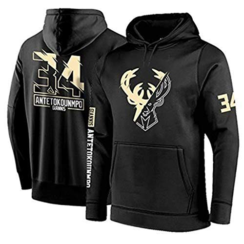 YDYL-LI Basketball Jersey Uniform All-Star Herren Hooded Bucks # 34 Antetokounmpo Sweatshirt Pullover Fan Training Trikots Tops Für Lässig, Komfortabel,Schwarz,M