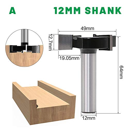 Lightcolor CNC Spoilboard Router Surfacing Bit T-Moulding, Spoilboard Surfacing Router Bits 1/2-Inch Shank Slab Flattening Router Bit Durable Woodworking Tool, Planing Bit Wood Milling Cutter Planer