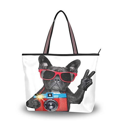 JUMBEAR Bolso de lona para mujer, bolso de mano, cámara de perro, abstracto, para compras, talla M