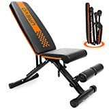 UREVO Weight Bench, Adjustable Weight Bench Strength Training Benches Folding with Leg Extension for Home Gym Full Body Workout Bench Incline Decline Flat