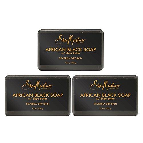 Karité Moisture Lot de 3 barres de savon africain noir biologique avec beurre de karité, 8 oz
