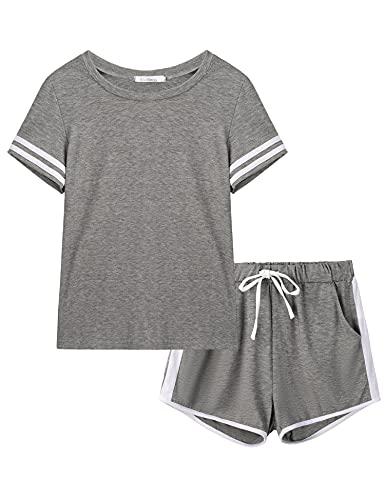 Akalnny Pijama Mujer Verano con Manga Corta Suave Cómodo Conjunto de Pijama Corto a Rayas Ropa de Dormir Estar por Casa Loungewear