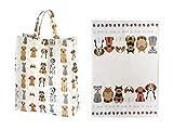 2er Geschenkeset, Geschirrtücher und Reisenthel Shopper Bag Einkaufstasche faltbar, Hunde Design, Geschenk für Frauen Hundeliebhaber