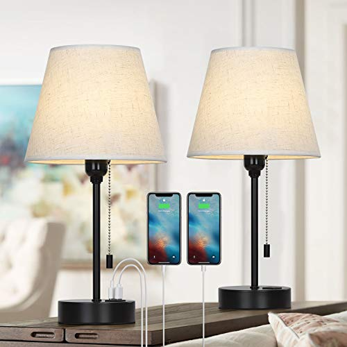 Bedside Table Lamp, Nightstand Lamp with Dual USB Charging Ports, Modern Lamps with Linen Shade for Bedroom Living Room Office, Set of 2