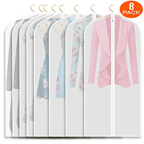Refrze Moth Proof Garment Bags,Garment Cover,8 Pack Clear Garment Bags,Hanging Garment Bag, Dress Garment Bags for Storage or for Travel,Breathable Dust and Waterproof Garment Covers Clear 24x40 ins