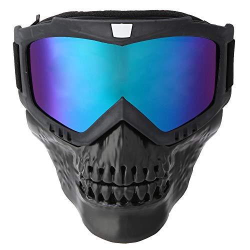 Demeras Occhiali da moto Maschera viso staccabile Occhiali da moto rimovibili Maschera casco per sport da sci Corsa in moto(Colore)