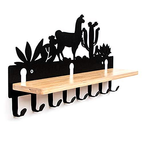 YANGMAN Hoedenrek Muur gemonteerd of gemakkelijk aan te brengen 3M Montage Tape Woestijn Oasis Stijl Thuis Kleding Hanger Houder Coat Rail Met Bamboe Plank Houten Organizer Opslag 8 Metalen Haken