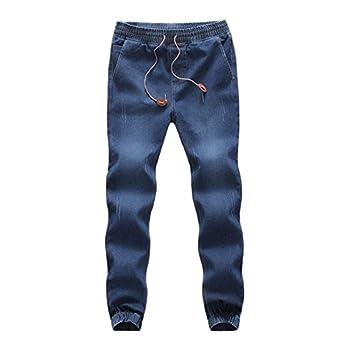 WUAI-Men Denim Jogger Jeans Comfy Strench Drawstring Elastic Waist Jeans Pants Plus Size Dark Blue,Medium