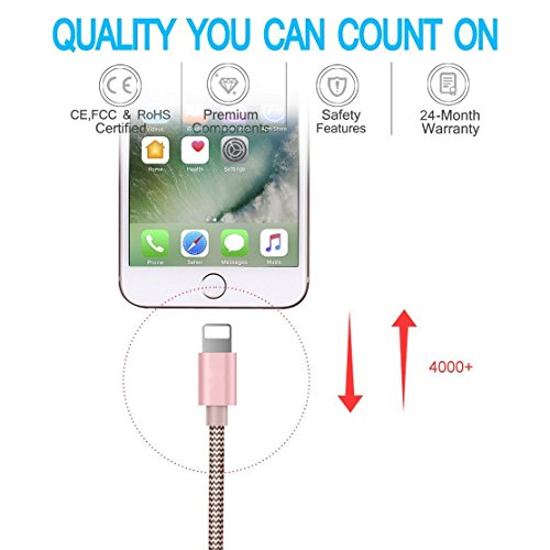 Ambet Phone Long Cable to USB Cable- 3PCS 5 Feet (1.5 Meters) Rose Gold Cord -Sync Phone Charging Charger Cable for Phone 7/SE/6s/6/ 5/5c/5s/Plus, Pad, Pod