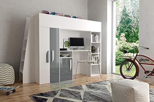 Etagenbett für Kinder PARTY 15 Stockbett mit Treppe und Bettkasten KRYSPOL (Weiß + Grau Glanz)