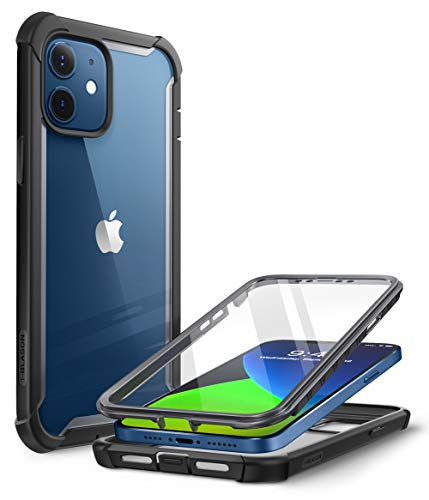 i-Blason Ares Series Designed for iPhone 12 Mini Case (2020), Dual Layer Rugged Clear Bumper Case with Built-in Screen Protector (Black)