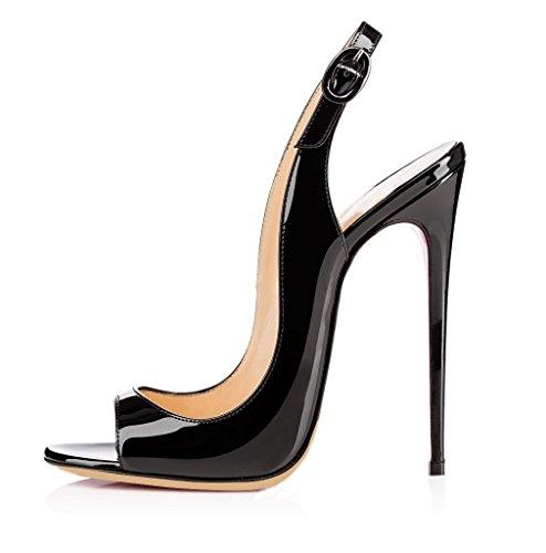 elashe Sandali con Tacco Alto - Sandali Sexy - Sandali della Cintura della Caviglia Nero EU35