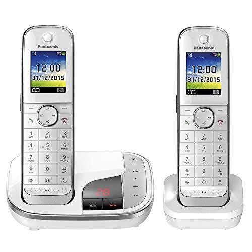 Panasonic KX-TGJ322GW Familien-Telefon mit Anrufbeantworter (schnurloses Telefon DUO, strahlungsarm, Anrufschutz, DECT Basistation) weiß