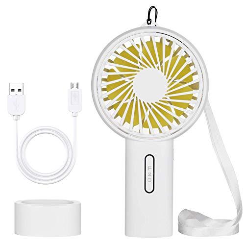BIAOZH ventilador pequeño portátil de mano, mini ventilador eléctrico USB ventilador de escritorio recargable con batería con luz nocturna para el hogar, oficina, camping y viajes (blanco)