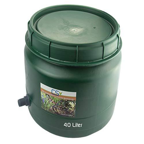 CS Drehdeckelfass 40 Liter grün mit Tankdurchführung 3/4 Zoll für die drucklose Bewässerung