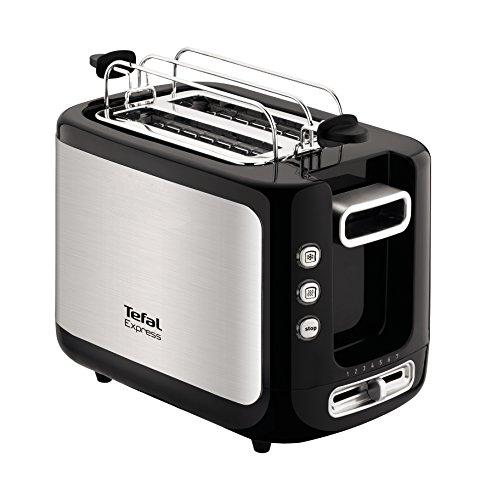 Tefal TT3650 Express - Tostadora (2 tostadas), color negro y plateado