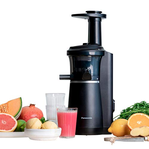 Panasonic Slow Juicer MJ-L501KXE Entsafter (Entsafter für Obst und Gemüse, Saftpresse, Edelstahl und Kunststoff, Entsafter elektrisch, 150 W, schwarz) (Generalüberholt)