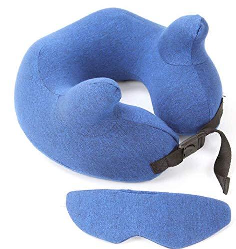 Zafiro Almohada Multifuncional en Forma de U + Máscara para los Ojos Memoria Cuello de algodón Cojín Suave Almohada Soporte para el Cuello Reposacabezas Vuelo Viaje 28 * 28 * 11Cm