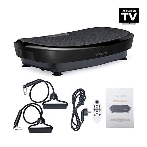 VibroSlim Unisex– Erwachsene Vibrationsplatte 3D Fitness, Schwarz, L 80.5cm x B 46 x H 15.2cm