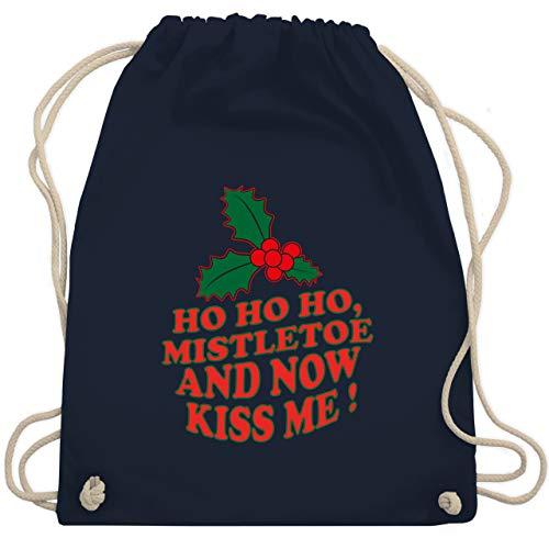 Weihnachten & Silvester - Ho Ho, Mistletoe and now kiss me - Mistelzweig - Unisize - Navy Blau - grünes kissen - WM110 - Turnbeutel und Stoffbeutel aus Baumwolle