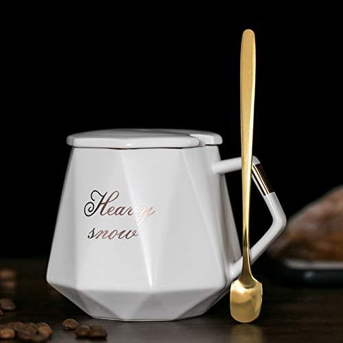 Xiaobing Taza de cerámica Creativa de la Taza del Diamante con la Tapa Taza de la Taza del Agua de la Oficina del café del hogar -D314-301-400ml-G1356