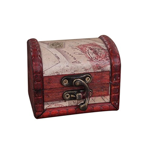 Sensail Boîte de Rangement Coffre au Trésor, Structure Résistante en Bois et en Métal - Design Vintage Unique, Fabriquée à la Main avec Un verrou Devant