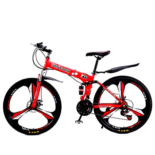 FuLov 21/24/27 Speed Mountainbike, 26 Zoll DREI Messer Räder Klappbare Outroad-Fahrräder, Doppelscheibenbremse Und MTB Mit Vollfederung,Rot,21speed