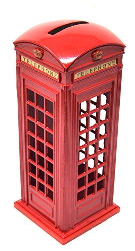 Cabina telefónica inglesa Caja de dinero Londres Cabina de teléfono roja Banco de dinero Caja de dinero Metal fundido a presión Hucha Reino Unido Inglaterra