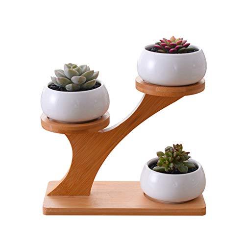 ypypiaol Keramik Sukkulente Blumentopf Pflanzgefäß Halter Bambus Regal Desktop Dekor Zubehör 1#