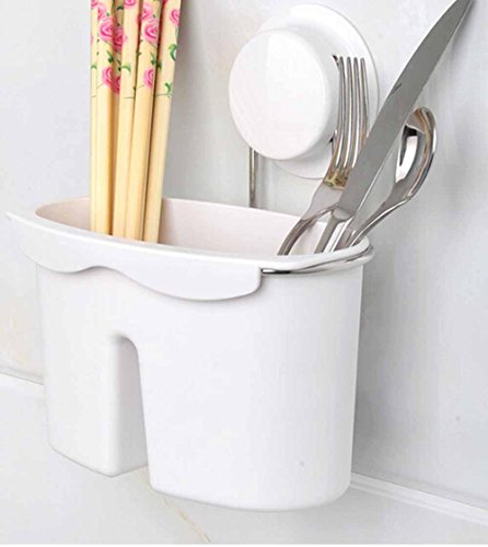 SSBY Bacchette di gabbia pianura ventosa, cucina in acciaio inox posate rack contenitore, drenare la madia