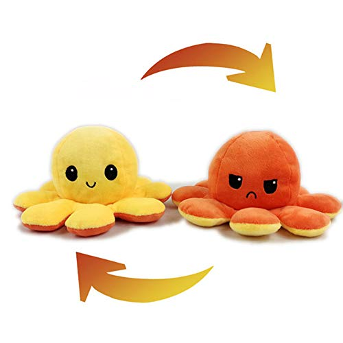 Reversible Octopus Soft Toys, Mini Double-Sided Flip Octopus Animal Toys, Home Decoration Creative Gifts For Children/Boys/Girls,yellow + orange