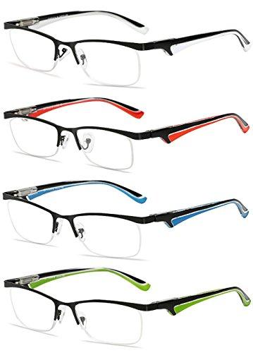 VEVESMUNDO Gafas de Lectura Hombre Mujer Metalicas Medio Marco Presbicia Modernas Vista Leer Graduadas Blanco Rojo Azul Verde 1.0 1.5 2.0 2.5 3.0 3.5 4.0 (1.5, 4 Gafas Set(blanco+rojo+azul+verde))