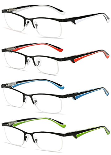 VEVESMUNDO® Lesebrillen Herren Damen Metall Klassische Federn-Scharnier HalbBrille Lesehilfe Augenoptik Arbeitsplatzbrille 1.0 1.5 2.0 2.5 3.0 3.5 4.0 (+2.5, 4 Farben(Weiß+Rot+Blau+Grün))