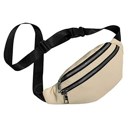 Auifor✿Unisex Art und Weise Doppelt-Reißverschluss-Taschen Leder Schultertasche Umhängetasche Bag Brusttaschen