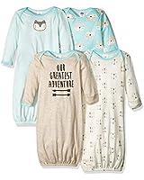 Gerber Baby Boys' 4 Pack Gowns, Fox, Preemie