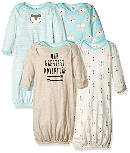 Gerber Baby Boys' 4 Pack Gowns, Fox, 0-6 Months