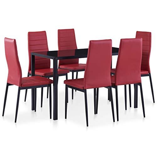 FAMIROSA Conjunto de Mesa y sillas de Comedor 7 Piezas Color Vino Tinto