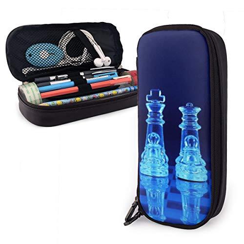 Estuche para lápices de ajedrez de cristal azul para niños y niñas,...