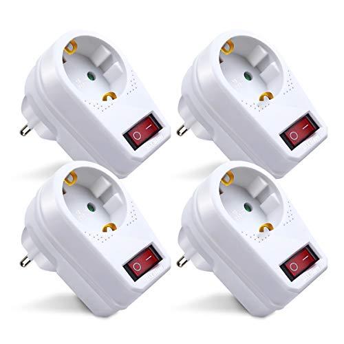 Extrastar Adaptador Enchufe con interruptor, 4 paquetes