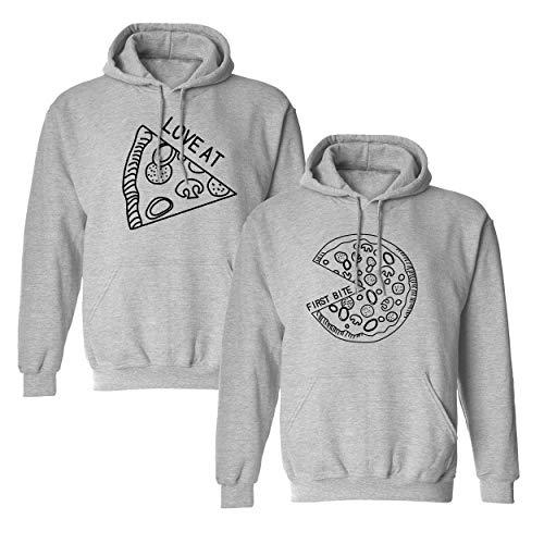 Mixcept Partner Pullover Pizza Pärchen Geschenke Paar Hoodie Set Pizza Pullover für Sie Kapuzenpullover Paare Pulli Sweatshirt Mr Mrs Kapuzenpulli Geschenk, 2 Stücke