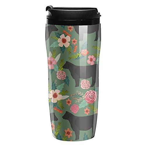 Botella de agua negro vaca flor viajes tazas de café tazas con tapa