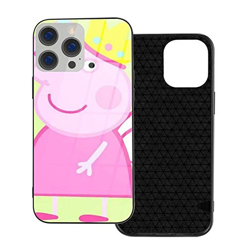 Peppa Fairy Pig Glass Black Carcasa de telefono Compatible para iPhone 12 Pro MAX Mini 11 Pro MAX XR X/XS 7/8/SE 2020 7plus/8 Plus 6/6s 6plus/6s Plus